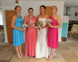 Cerise, Coral and Turquoise Bridesmaids